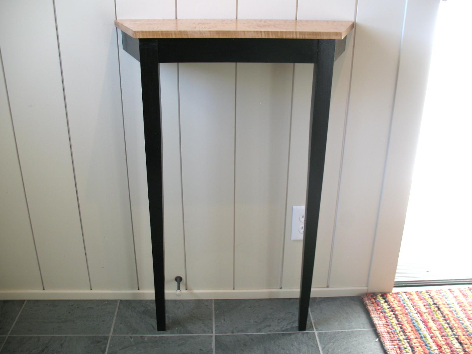 black hallway table. Small Hall Table Black Base With Tiger Maple Top. IMG_9307 IMG_9349 IMG_9347 Hallway O